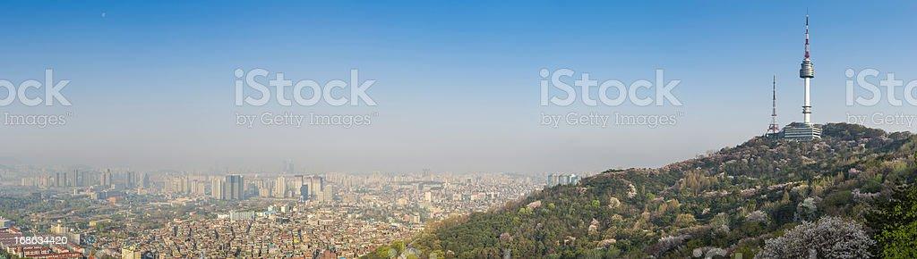 Seoul Namsan Tower sunrise cityscape panorama South Korea stock photo