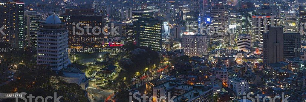 Seoul neon night cityscape lights illuminated skyscrapers panorama South Korea royalty-free stock photo