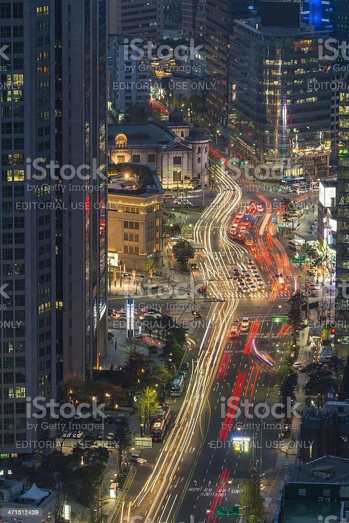 Seoul neon night lights downtown Myeong-Dong city illuminated Korea royalty-free stock photo