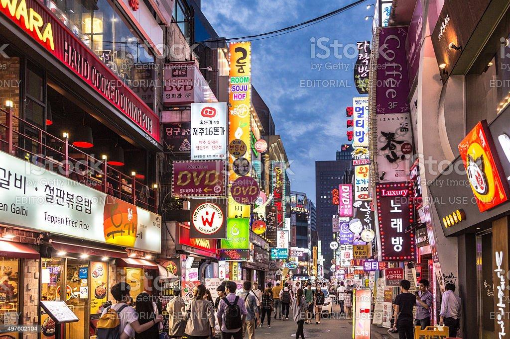 Seoul night life stock photo