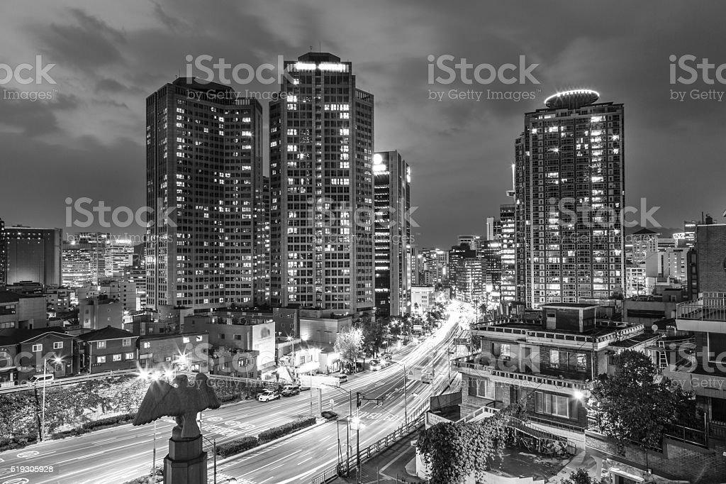 Seoul night rush stock photo