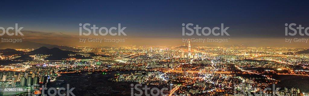 seoul night view stock photo