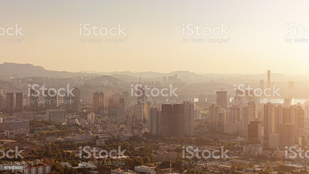 Seoul Panorama Urban South Korea stock photo