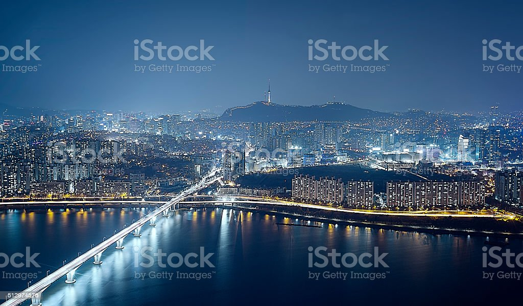 Seoul Skyline at night stock photo