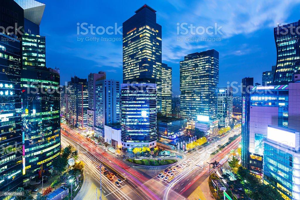 Seoul skyline at the gangnam district stock photo