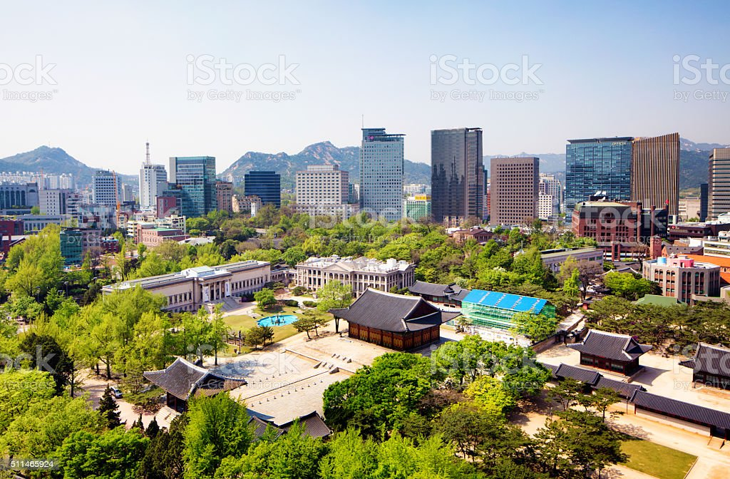 Seoul skyline daytime featuring Deoksugung Palace stock photo