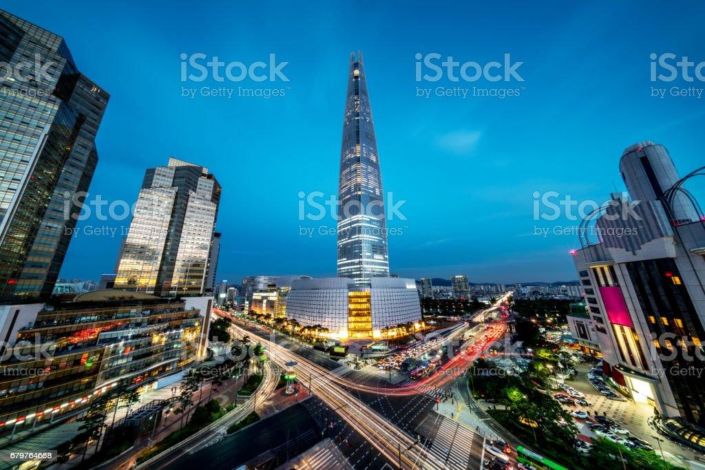 Seoul Songpagu Cityscape Skyscraper Lotte World Tower at Night stock photo