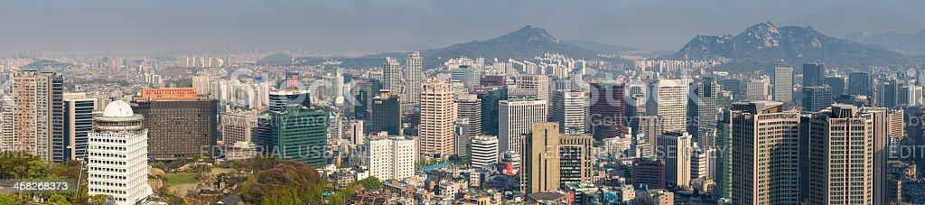 Seoul South Korea crowded downtown skyscraper cityscape panorama royalty-free stock photo