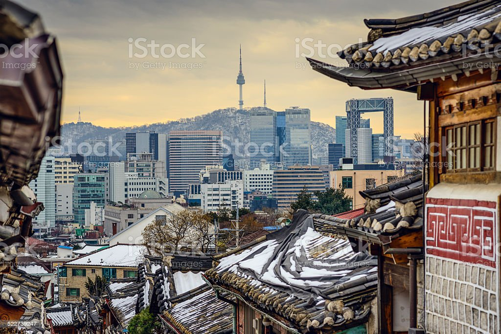 Seoul, South Korea Historic Distric and Skyline stock photo