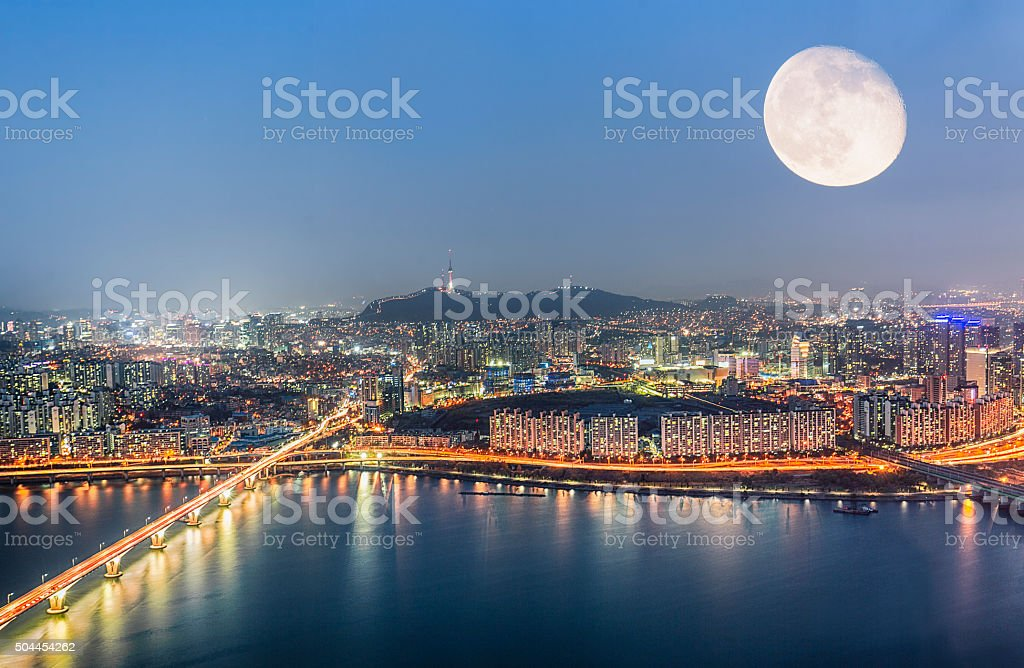 Seoul, South Korea Skyline under Moonlight stock photo