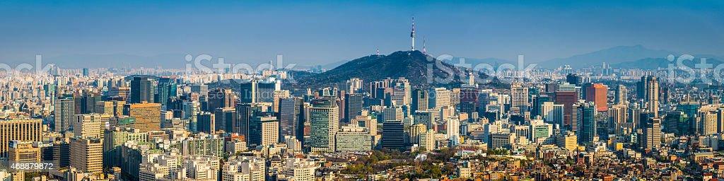Seoul South Korea skyscrapers at sunset crowded futuristic cityscape panorama stock photo