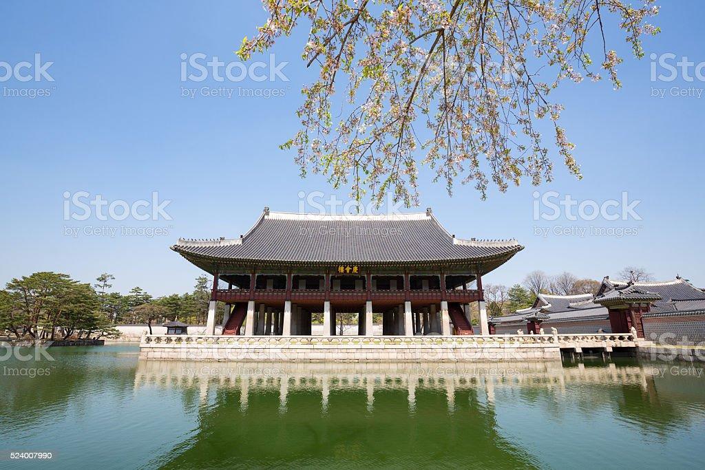 Seoul, South Korea:Gyeongbokgung Palace  in spring stock photo