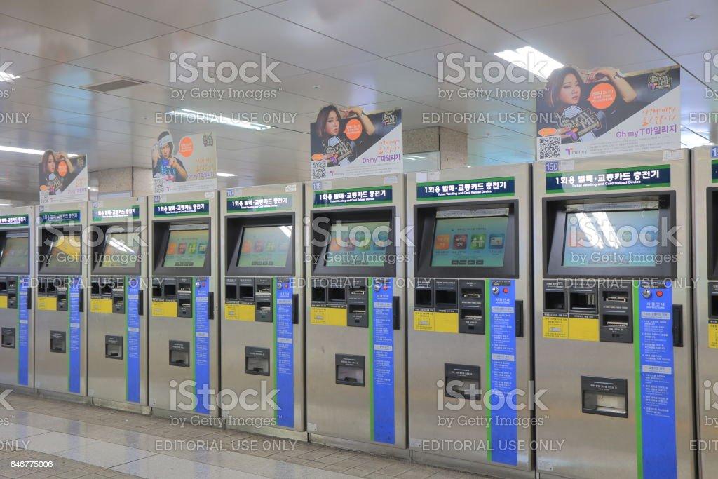 Seoul subway underground train South Korea stock photo