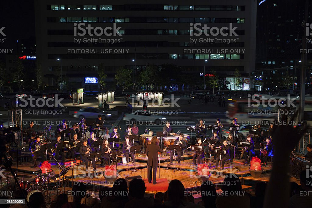 Seoul Summer Orchestra Concert Street Traffic stock photo