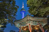 N Seoul Tower Golden Pavilion at Night South Korea