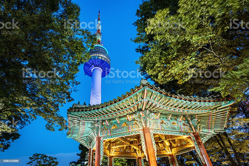 N Seoul Tower Golden Pavilion by Night Seoul South Korea stock photo
