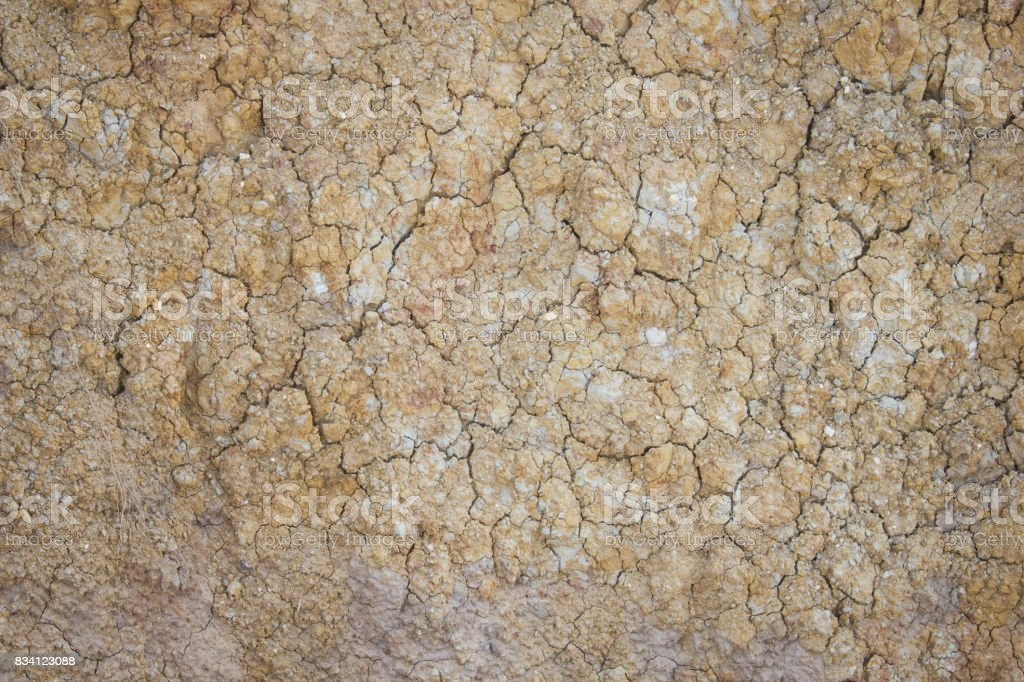 Separate soil or parched ground or cracked ground or desiccated ground. stock photo