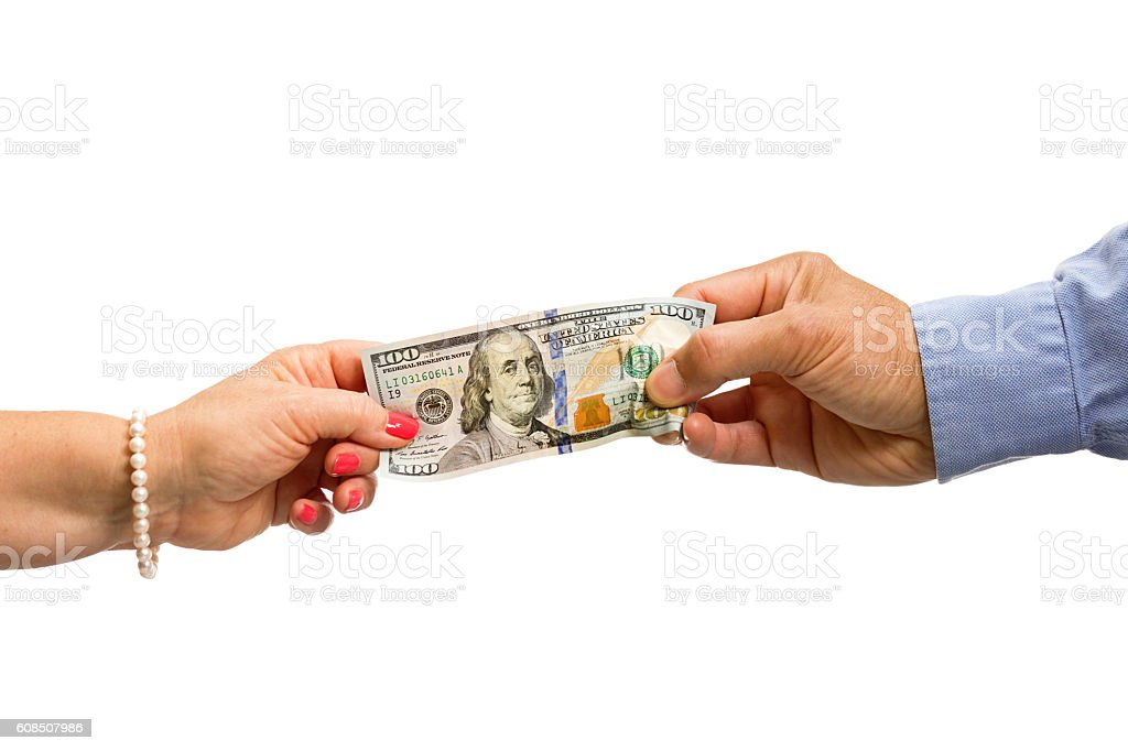 Separation Divorce Man and Woman Fighting Over Money White Background stock photo