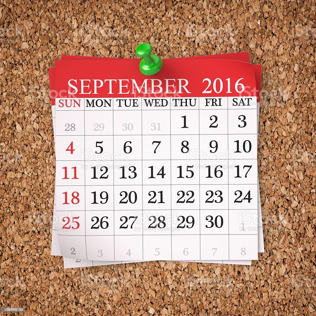 Sepetember 2016  Calendar stock photo