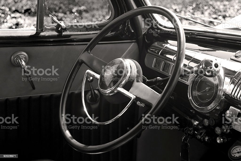 Sepia Classic Car Interior royalty-free stock photo