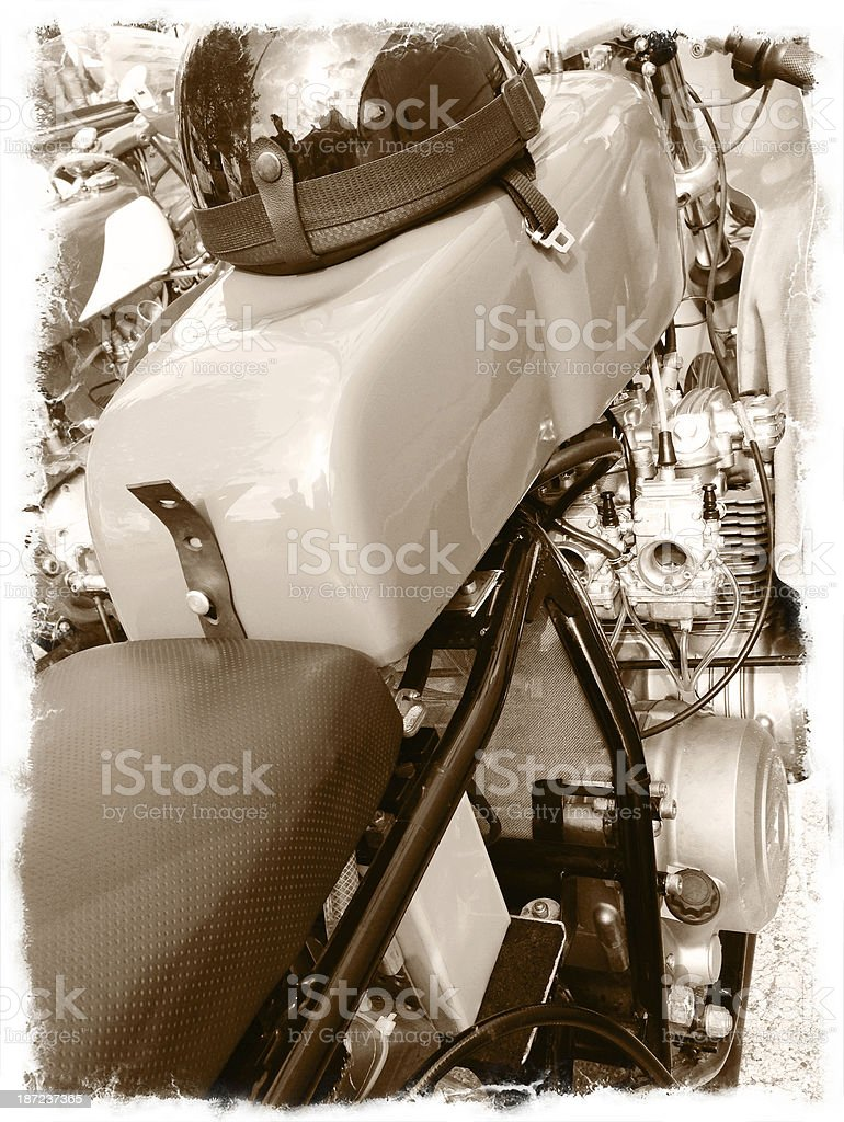 Sepia Close Up of Retro Racing Motorcycle royalty-free stock photo