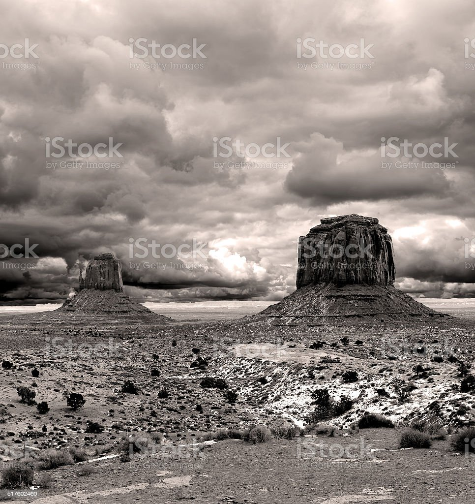 Sepia Cloudy Skies Monument Valley stock photo