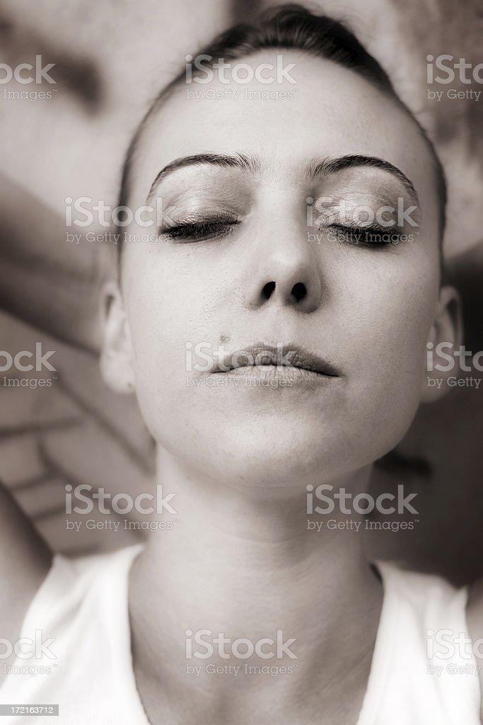 Sepia Meditation stock photo