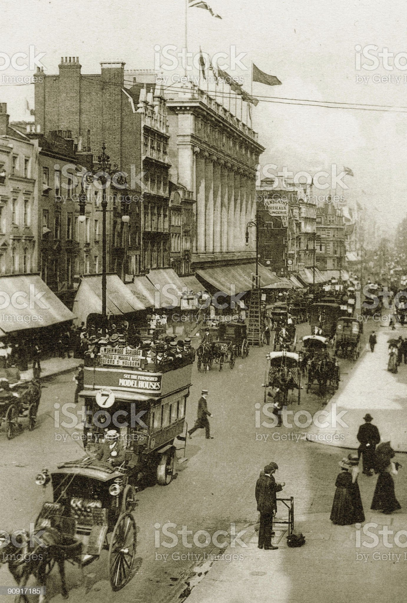 Sepia pic of Oxford Street in Victorian Era royalty-free stock photo
