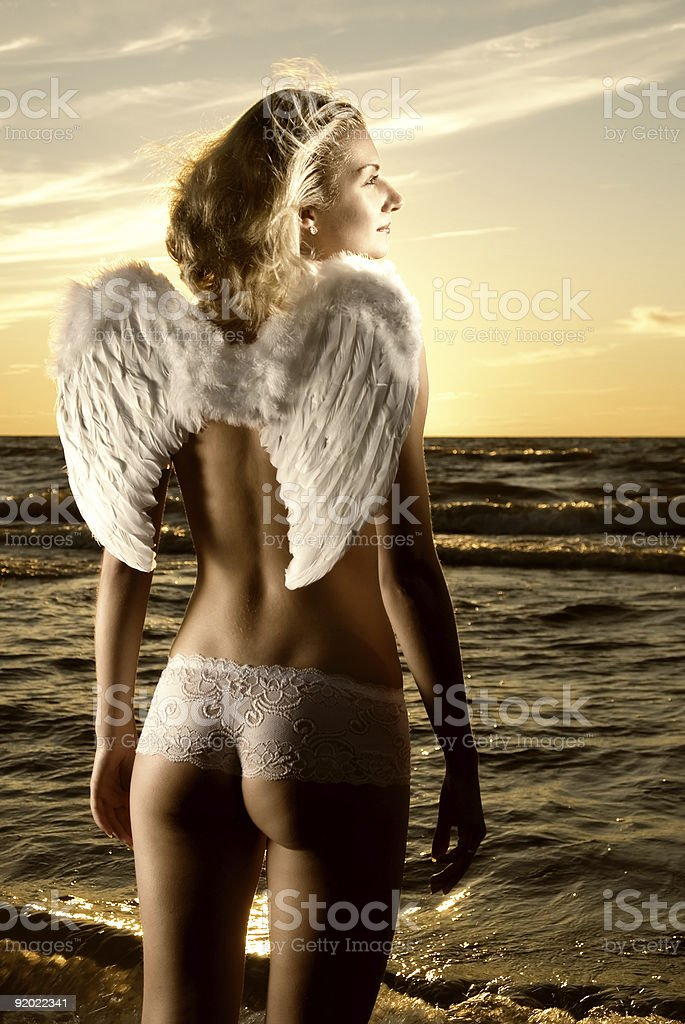 Sepia picture of a beautiful angel royalty-free stock photo