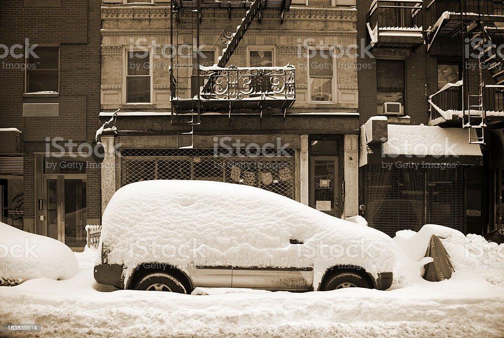 sepia snow scene royalty-free stock photo