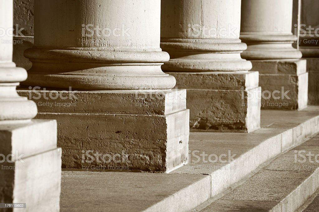 Sepia Stone Columns stock photo