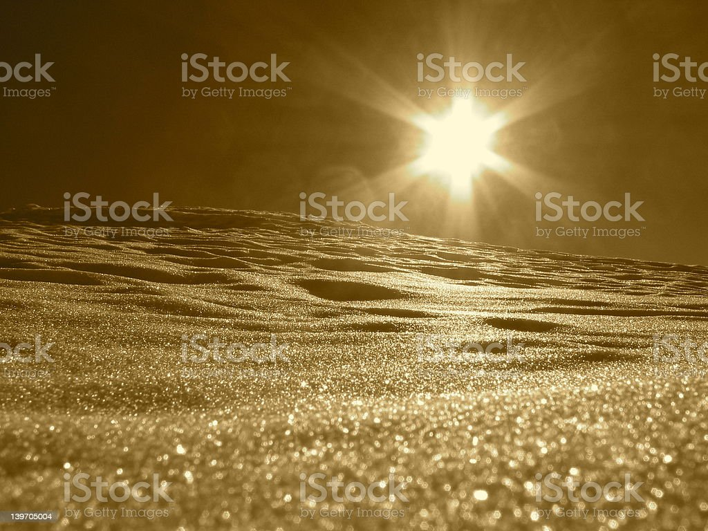 Sepia Sun Flare Snow royalty-free stock photo