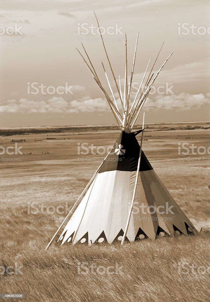 Sepia Teepee and Grasslands stock photo