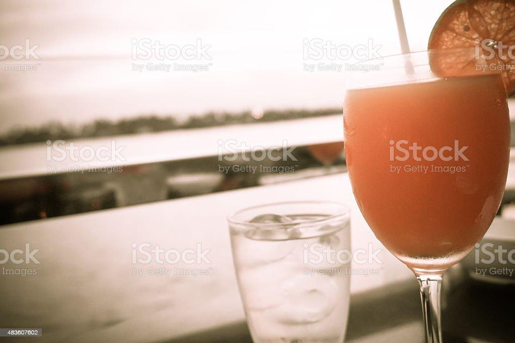 Sepia tone tangerine juice orange royalty-free stock photo
