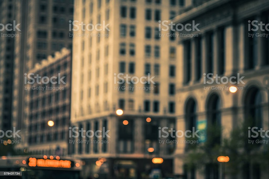 Sepia toned and blurred buildings in downtown Chicago stock photo