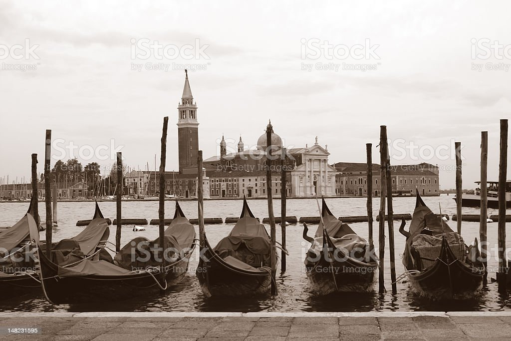 Sepia toned cityscape of Venice stock photo