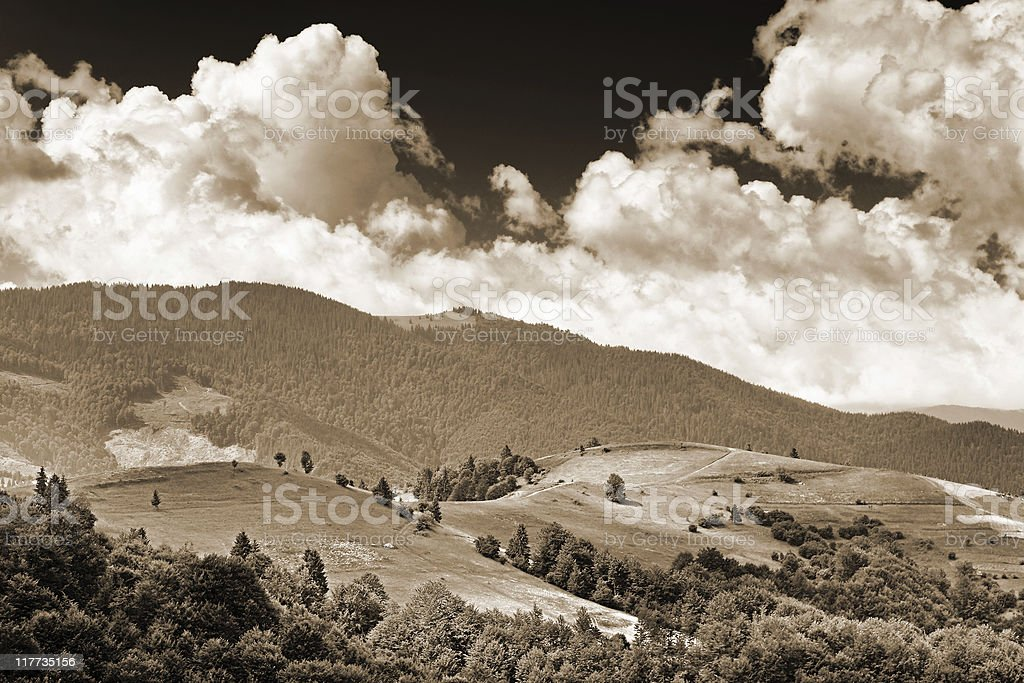sepia toned mountain panorama royalty-free stock photo