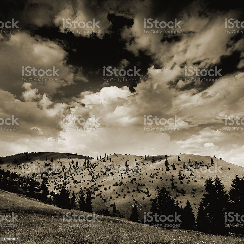 sepia toned mountain scene royalty-free stock photo