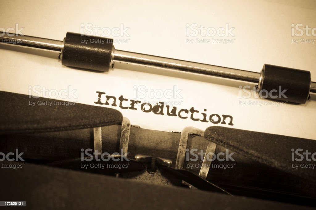 Sepia Toned Vintage Typewriter With 'Introduction' Typed on Paper royalty-free stock photo