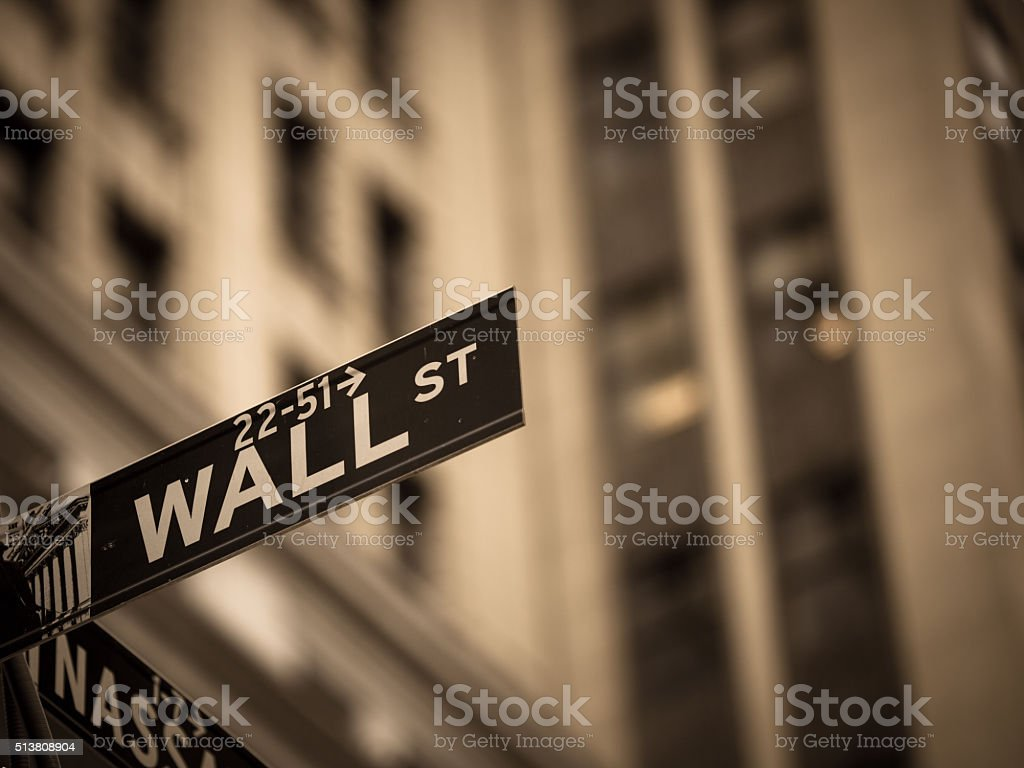 Sepia toned Wall Street sign in New York City stock photo