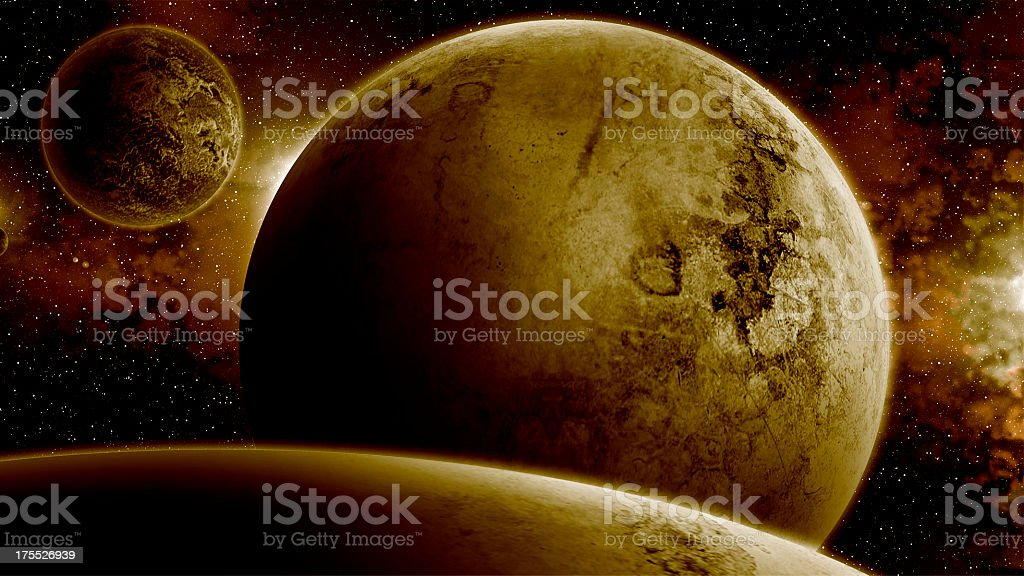 Sepia Universe and Big Planets royalty-free stock photo