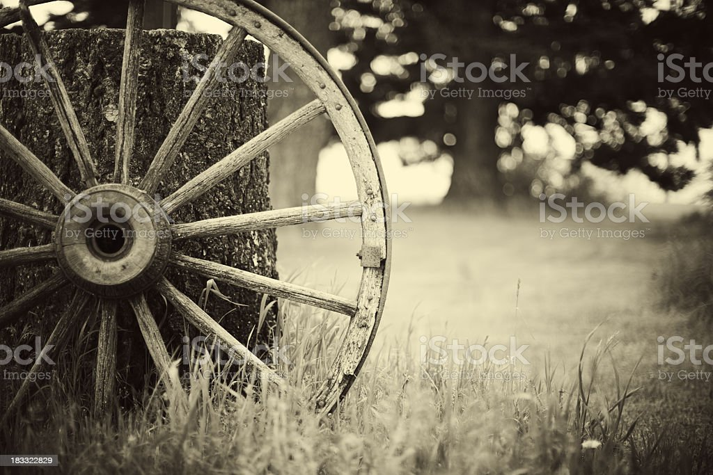 Sepia Western Wagon Wheel stock photo