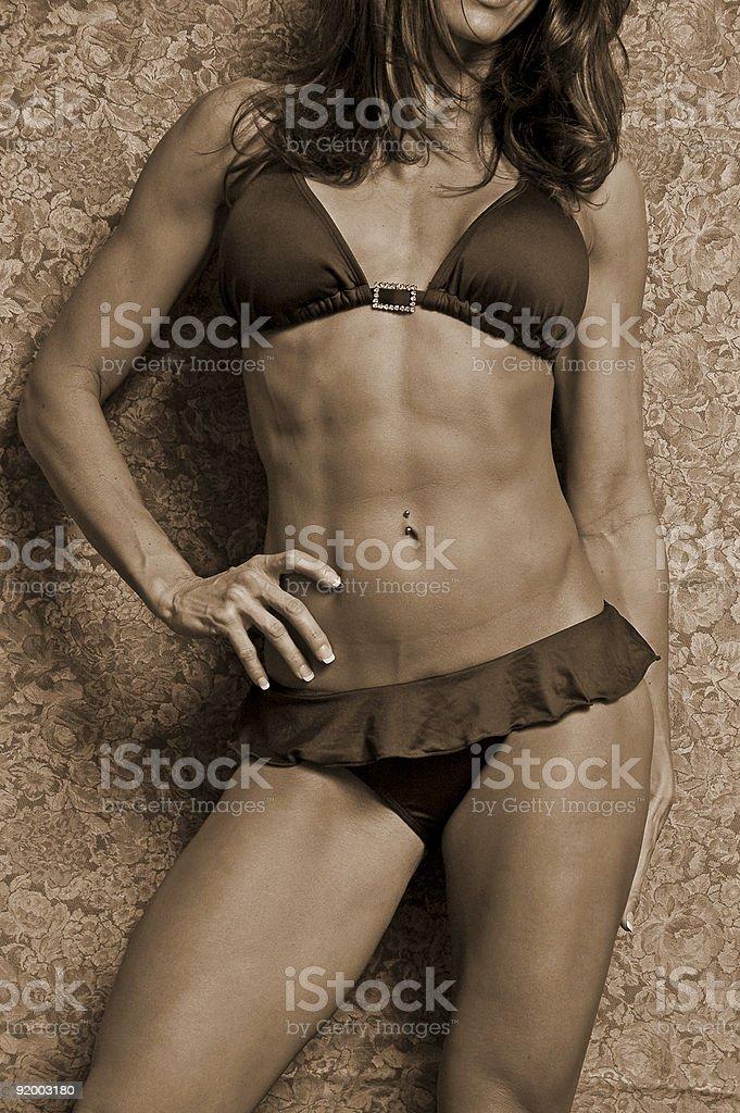 sepia woman in bikini royalty-free stock photo