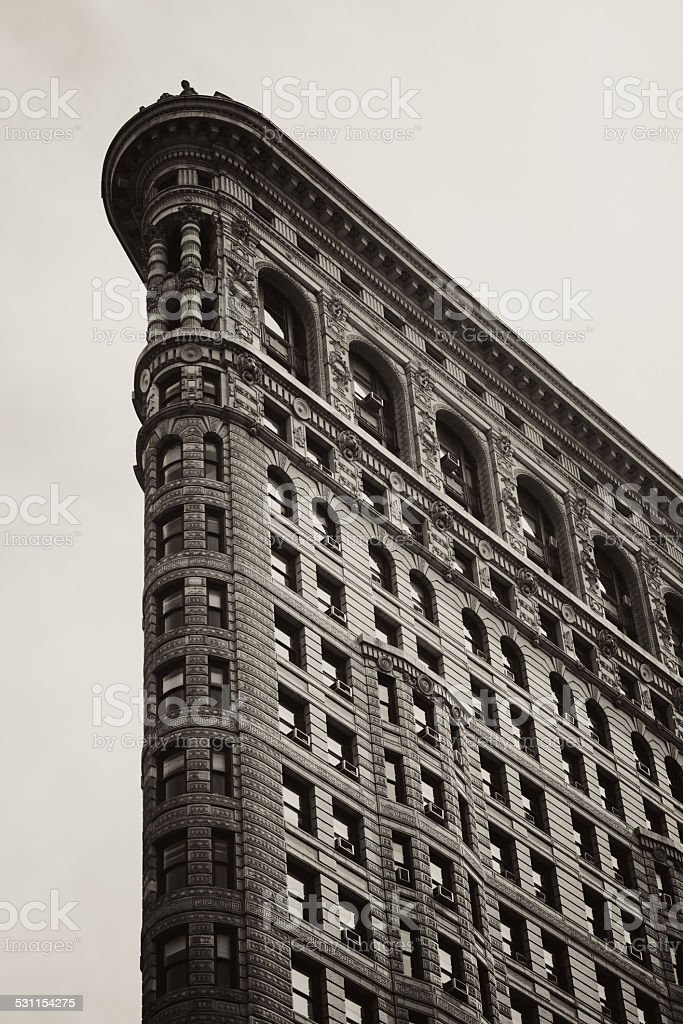 Sepia-toned image of Flatiron Building in New York City stock photo