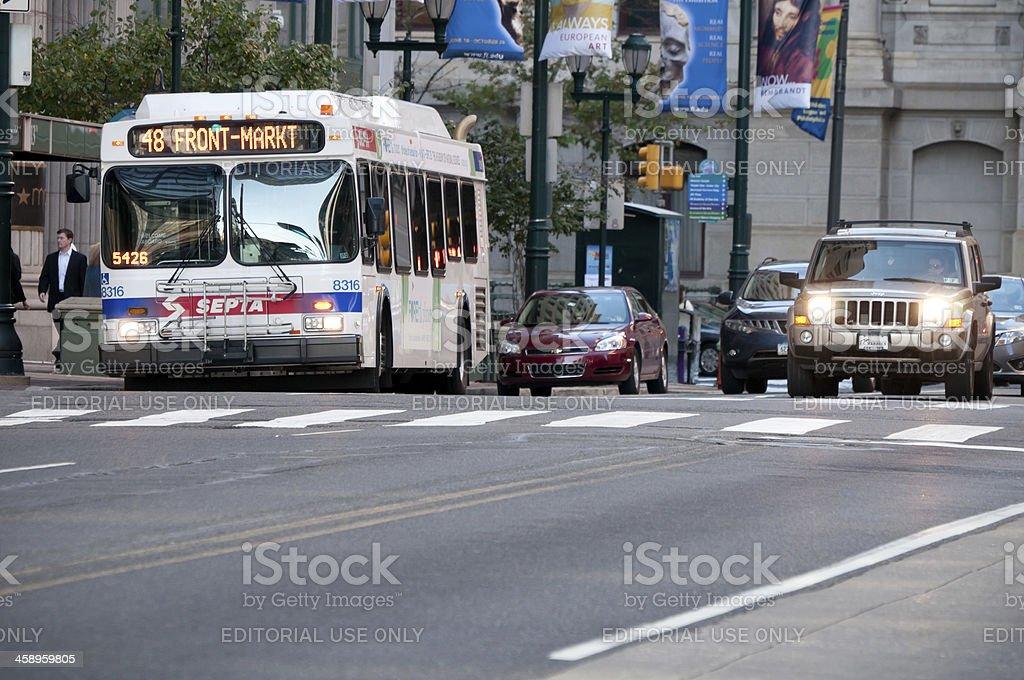 Septa bus stopping on Market Street, Philadelphia, USA stock photo