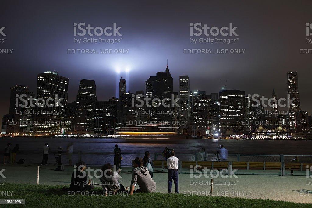 September 11 2011 Memorial Lights New York City stock photo