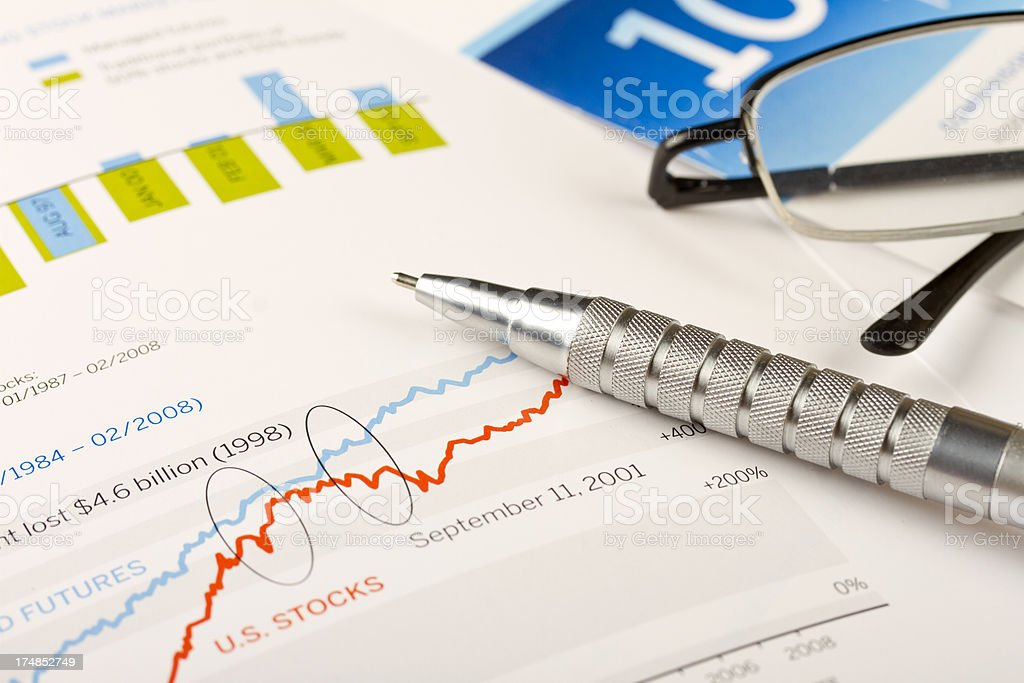 September 11 financial analysis with pen stock photo