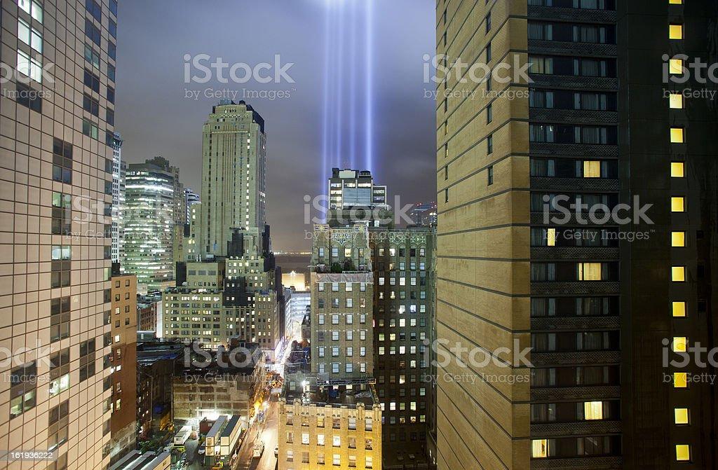 September 11 Memorial Lights New York City royalty-free stock photo