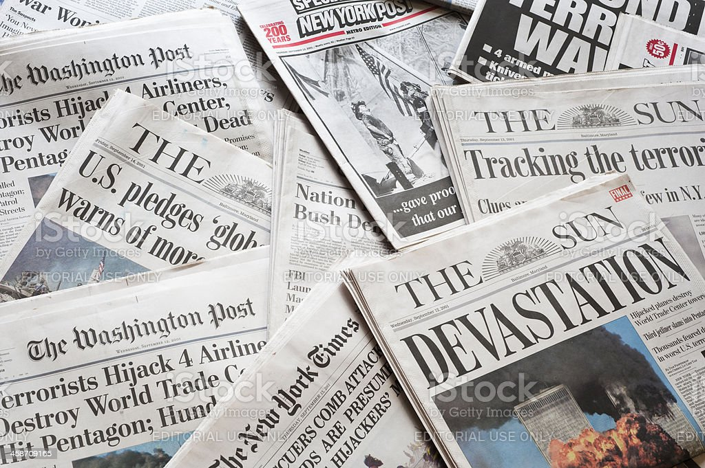 September 11 Newspapers and Headlines royalty-free stock photo