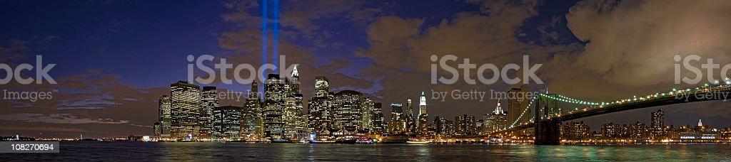 September 11 Tribute in Light New York Manhattan panorama stock photo